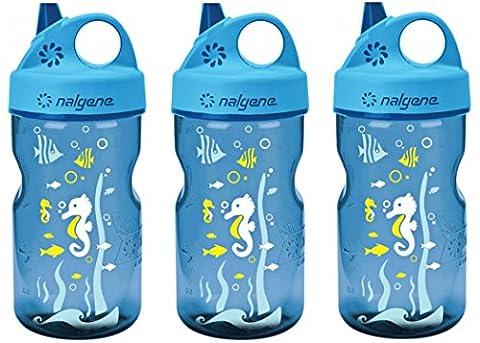 Kids Grip-n-Gulp - Variation Parent (Seahorse Blue Set of 3, 3 Count) - Nalgene Grip N-gulp