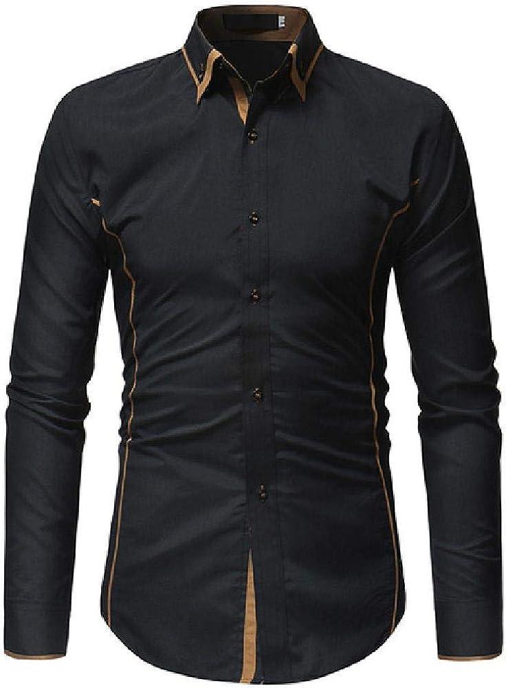 Camisa de Cuello de Doble Vuelta de Moda para Hombre Camisa de Manga Larga Ajustada de otoño Casual Casual Camisas de Vestir para Hombre: Amazon.es: Ropa y accesorios