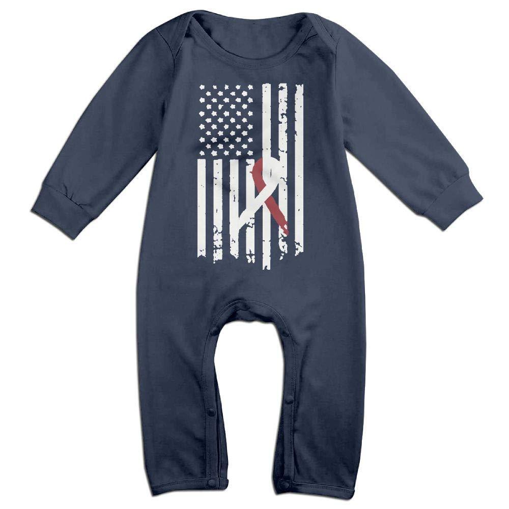 TYLER DEAN Baby Boy Jumpsuit Neck Cancer Awareness Flag Kid Pajamas