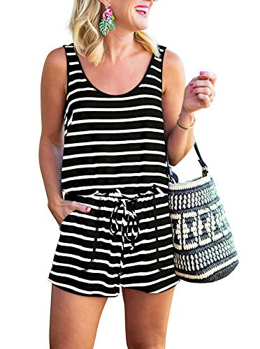 REORIA Womens Casual Summer One Piece Sleeveless Tank Top Striped Playsuits Short Jumpsuit Beach Rompers Black+White Medium from REORIA