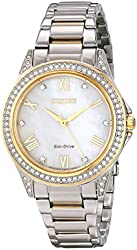 Citizen Drive from Citizen Eco-Drive Women's EM0234-59D Two-Tone Watch with Swarovski Crystal-Accented Bezel