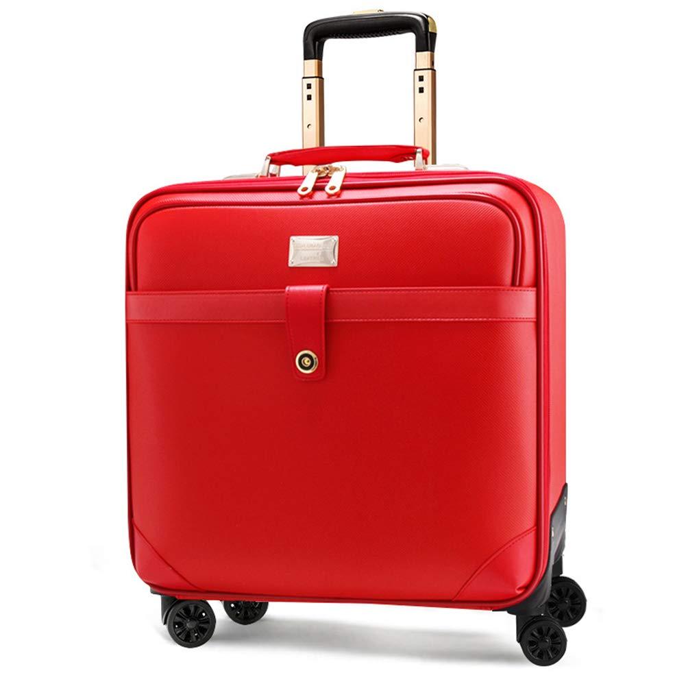 超軽量 PVC、キャビンの手荷物スーツケース、4つの車輪、飛行承認ラップトップコンパートメントトロリーバッグ、多機能防水フライトバッグケースで運ぶ。 B07KP28TV1 Red 16in