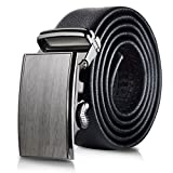 Mio Marino Classic Ratchet Belt - Premium Leather - 1.38 Wide - Adjustable Buckle - Free Gift Box - Wood Design Ratchet Belt - Black - Adjustable from 26'' to 44'' Waist