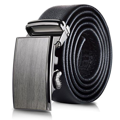 Mio Marino Classic Ratchet Belt - Premium Leather - 1.38 Wide - Adjustable Buckle - Free Gift Box - Wood Design Ratchet Belt - Black - Adjustable from 38