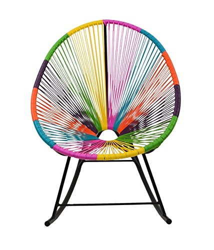 Design Tree Home Acapulco Sun Oval Weave Indoor Outdoor All-Weather Patio Rocker Rocking Chair - Rainbow Multi-Color