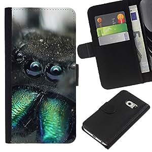 KLONGSHOP // Tirón de la caja Cartera de cuero con ranuras para tarjetas - Divertido Weird Araña Tarántula Macro - Samsung Galaxy S6 EDGE //