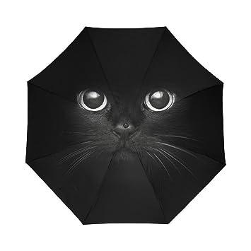 Generic paraguas gato negro Auto paraguas poliéster Pongee impermeable compacto paraguas automático paraguas plegable para viaje