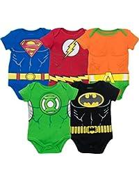 cac727a83de0 Justice League Baby Boys  5 Pack Superhero Bodysuits - Batman