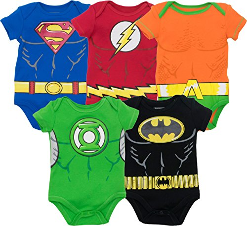 Warner Bros. Justice League Baby Boys' 5 Pack Superhero Bodysuits - Batman, Superman, The Flash, Aquaman and Green Lantern (12M)
