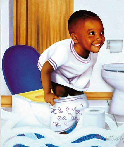 African American Potty Boy (10x8 inches - Unframed Art Print - Black Bathroom Art)