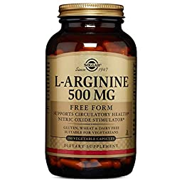 Solgar L-Arginine Vegetable Capsules, 500 mg, 250 Count