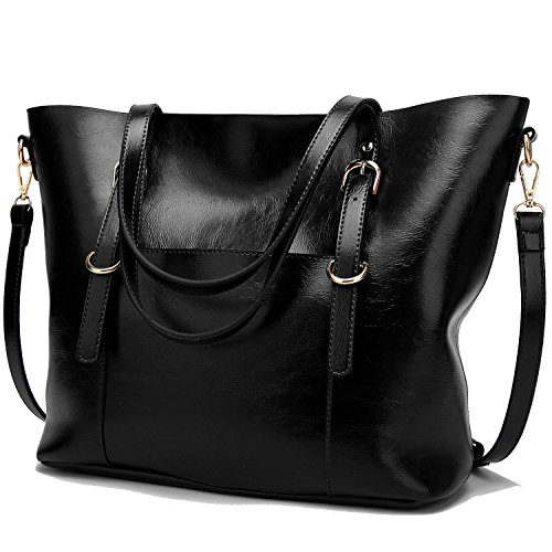 BNWVC Women Top Handle Satchel Handbags Tote Purse Shoulder Bag (black2) by BNWVC