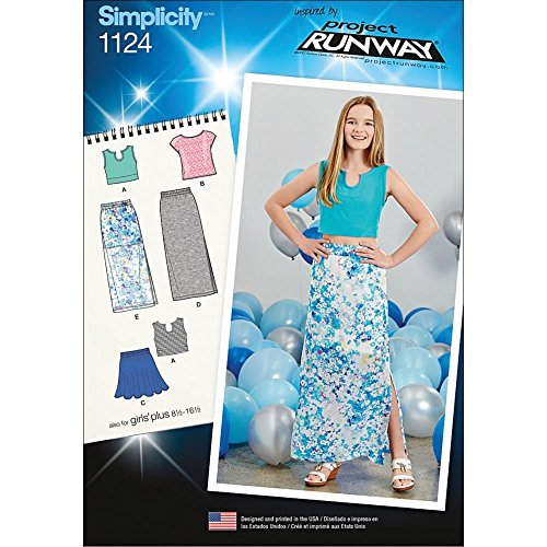 Pattern Girls Top - SIMPLICITY Patterns 1124 Girls' and Girls' Plus Tops and Skirts, AA (8-10-12-14-16)