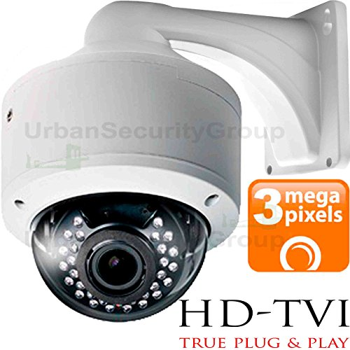 USG 3MP 2048 x 1536 Dome Security Camera : 2.8-12mm Vari-Focal HD Lens : Weatherproof Vandal-Proof : 30x IR LEDs : BNC Connector : New Easy-to-Mount 2 Piece Design : HD-TVI, Analog CVBS, AHD Format