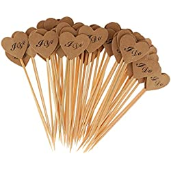 Fityle 50x Vintage Kraft Paper Heart Cupcake Topper Food Picks Wedding Decor I Do