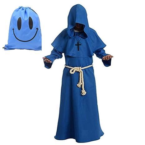 Myir Disfraz de Monje Sacerdote Túnica Medieval Renacimiento Traje con Cruz para Halloween Carnaval (XL, Azul)