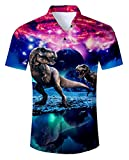 Uideazone Teen Boys 3D Printed Galaxy Dinosaur Short Sleeve Shirts Casual Tee Shirt