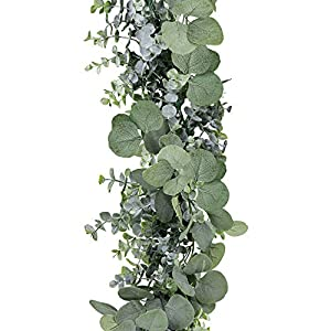 SUPLA 5.9' Long Faux Eucalyptus Leaves Greenery Garland Artificial Silver Dollar Eucalyptus Garland in Grey Green Wedding Arch Swag Backdrop Garland Doorways Table Runner Garland Indoor Outdoor 3