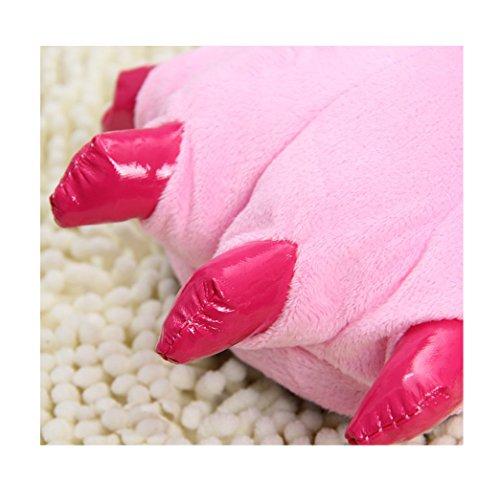 Patte Chaussures Peluche Chaussures Bande de Patte xiaoshu Chaudes Chaussures Dessinée D'Animal Douces Maison Pantoufles Maison Pink de Neutres de en Shi TqwtFap