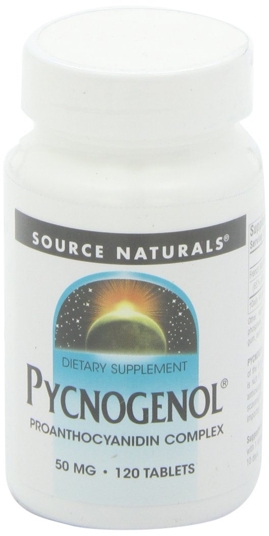Source Naturals Pycnogenol 50mg Proanthocyanidin Complex Herbal Antioxidant French Maritime Pine Bark Extract - 120 Tablets