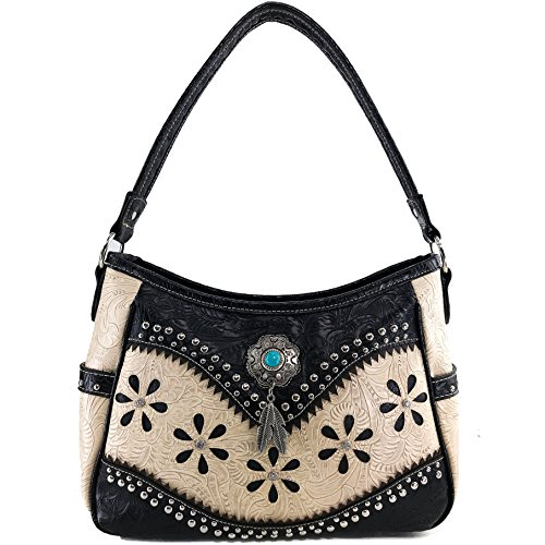 Turquoise Stone Feathers West Concealed Purse Only Justin Beige Purse Studs Western Concho Handbag Tooled Carry U5wqIERx