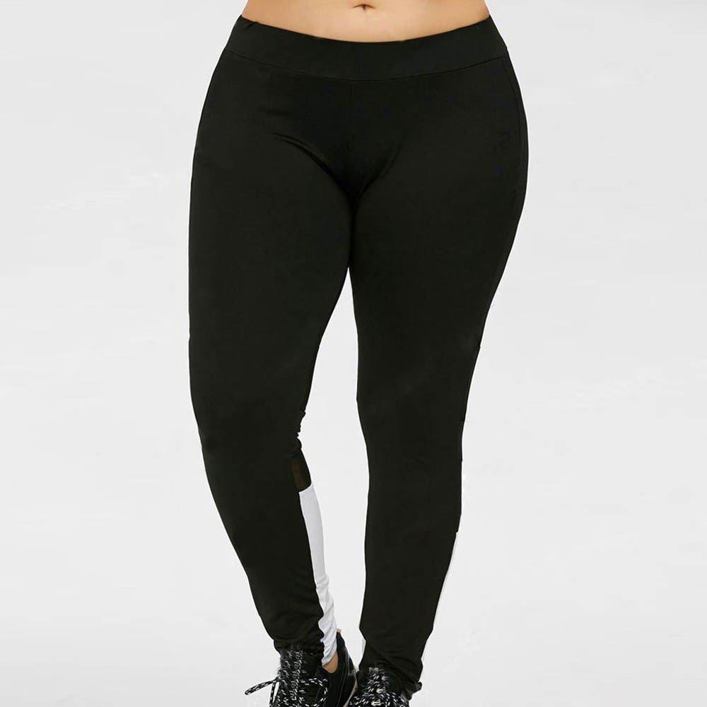 f5cbdaf63a7b2 Overdose Women Plus Size Leggings, Sports Yoga Gym Elastic Waist Pants:  Amazon.co.uk: Clothing