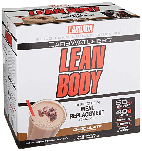 Powder Carb Watchers Lean Body - Labrada Carb Watchers Lean Body Hi-Protein Meal Replacement Shake, Chocolate, 2.29-Ounce Packets (Pack of 42)