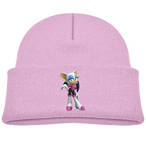 Soft Kids Cap Knitted Hat for Baby with Cute Sonic Rouge The Bat 3D Game Figure Pattern Pink (Rouge The Bat And Shadow The Hedgehog)