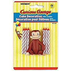Unique Industry, Curious George Candles and Cake Topper, 6-piece Set