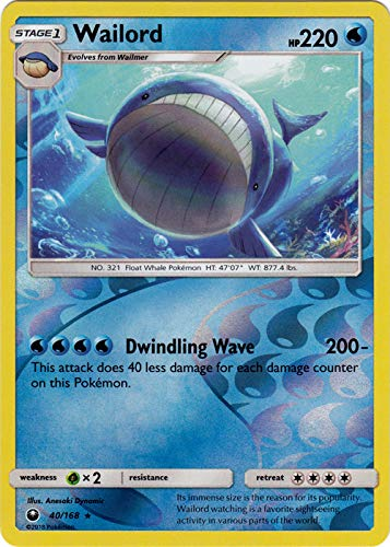 Pokemon Singles - Wailord - 40/168 - Rare - Reverse for sale  Delivered anywhere in USA