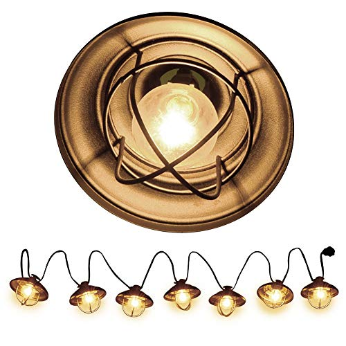 Patio String Lights, Ucharge Globe String Lights Outdoor 7 Bulb Vintage Ambience Lighting with Metal Cover Cafe/Shop/Gazebo Light Party Hanging Indoor Outdoor String Lights - Backyard Lights -