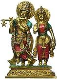 1 Feet Tall Gorgeous Radha Krishna Murti Idol, Colorful Gemstones Handwork Brass Statue - Hindu Gd Goddess of Love - Perfect Wedding Anniversary Gift Home Decor