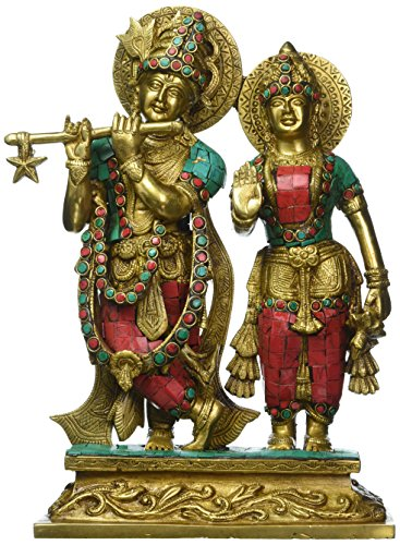 1 Feet Tall Gorgeous Radha Krishna Murti Idol, Colorful Gemstones Handwork Brass Statue - Hindu Gd Goddess of Love - Perfect Wedding Anniversary Gift Home Decor by Anonymous Artist