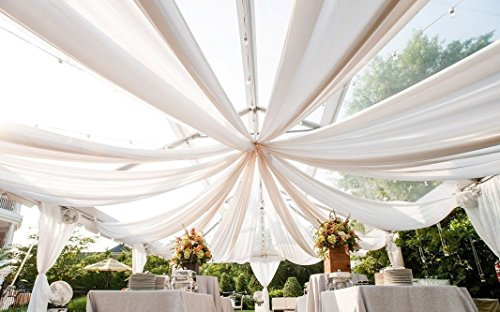Decorative Copper Toppers Finials (Ceiling Draping White Sheer Voile Chiffon Ceiling Drape Panel Wedding 10 FT W X12 FT H)