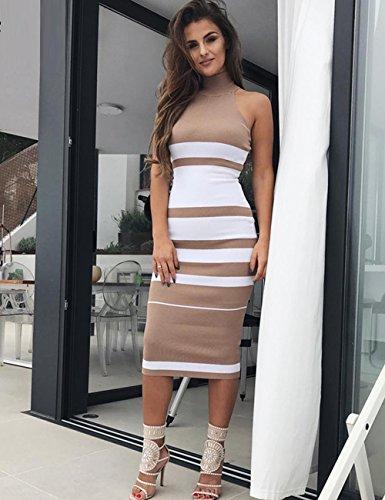Stripe Long Maketina Sleeveless Neck Womens Bodycon Casual Nude High rayon Dress Bandage arAqYIwr