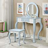 Deana Blue/White Solid Wood Vanity Table Set by Furniture of America