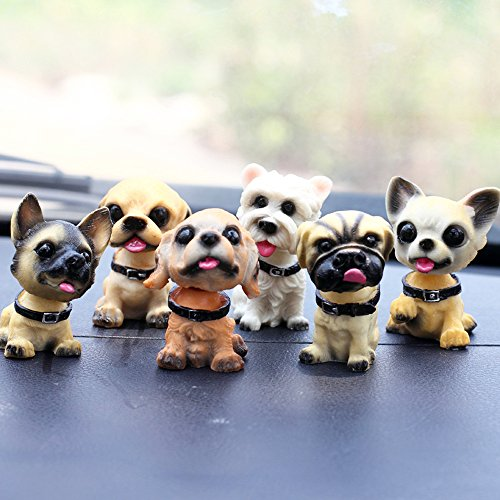 (Cute Dog Bobblehead Doll Car Accessories Dashboard Decorations Car Home Office Ornaments 6 Pcs )