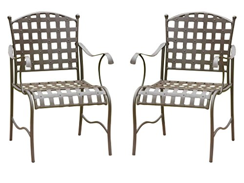 SANTA FE 2 IRON CHAIRS in a BROWN FINISH- PATIO FURNITURE