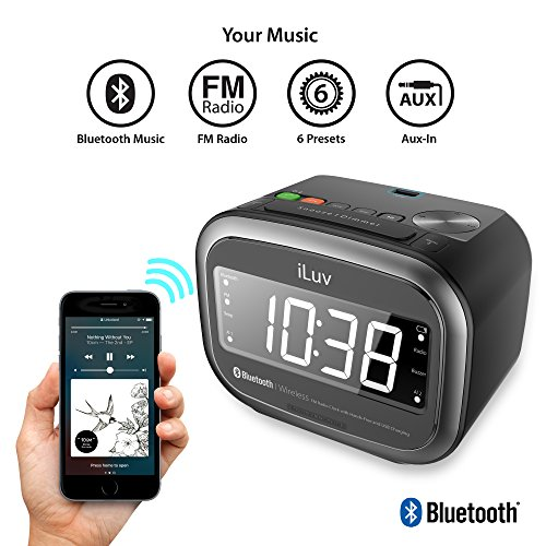 iLuv Wireless Bluetooth Speaker Jumbo 1.4 LED Display Dual Alarm Clock FM Radio for Music, Hands Free, 5 Level Dimmer, Daylight Saving Time and USB Charging Port- iPhone/iPad/iPod/Smartphones