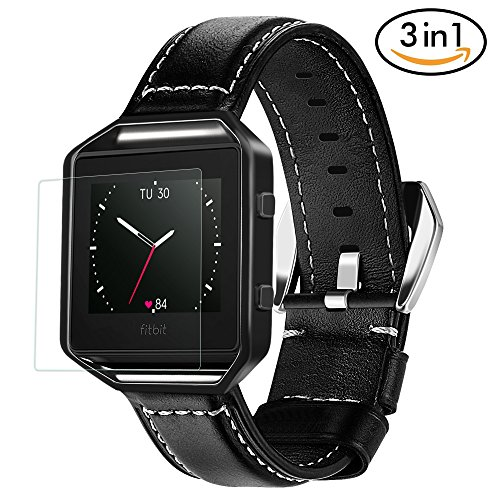 For Fitbit Blaze Bands 3 in 1 Watch Wristband Strap Leather Replacement, Protective Case Cover Black Frame with Screen Protector,Smart Fitness Watch Classic Bracelet for Men Women,Leather Black