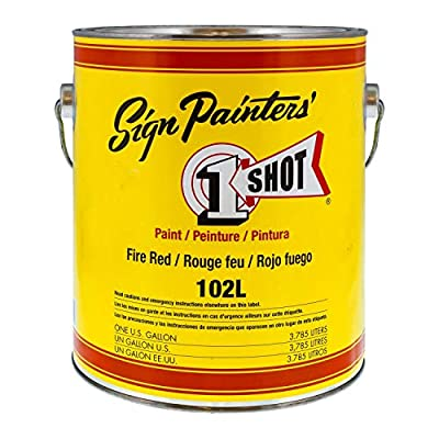 1 Shot Lettering Fire Red Pinstriping Lettering Enamel Paint, Gallon