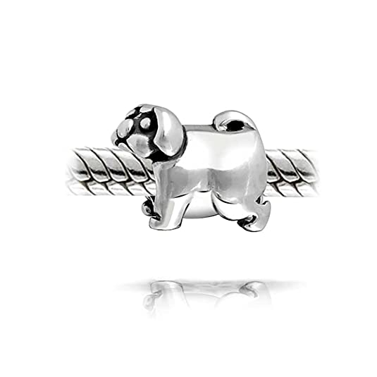 Bling Jewelry Pug Dog Animal Charm Bead .925 Sterling Silver RBVfTx9xW