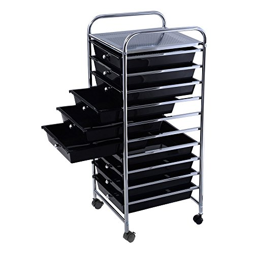 10-Drawer Plastic Rolling Storage Cart Scrapbook Paper Office School Metal Mobile Organizer Black Drawer by pittayadomeshop
