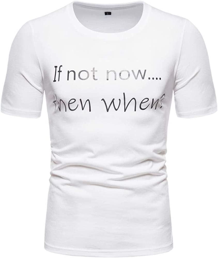 Camiseta para los Hombres, Las Letras Forman la Camiseta de algodón en Verano Cuello Redondo Manga Corta Camiseta de Manga Corta Impreso