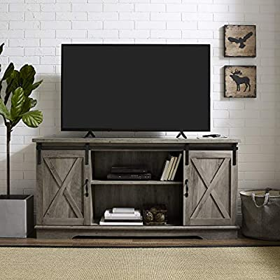 New 58 Inch Sliding Barn Door Television Stand - Grey Wash Finish - Constructed of high-grade MDF Functional sliding barn doors Open and closed storage with adjustable shelves - tv-stands, living-room-furniture, living-room - 51cdaYvlUFL. SS400  -