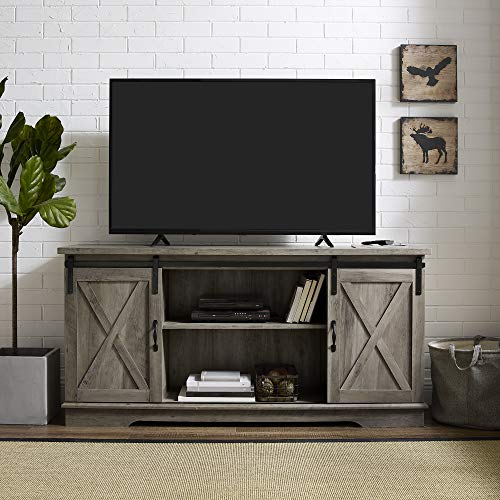 New 58 Inch Sliding Barn Door Television Stand – Grey Wash Finish