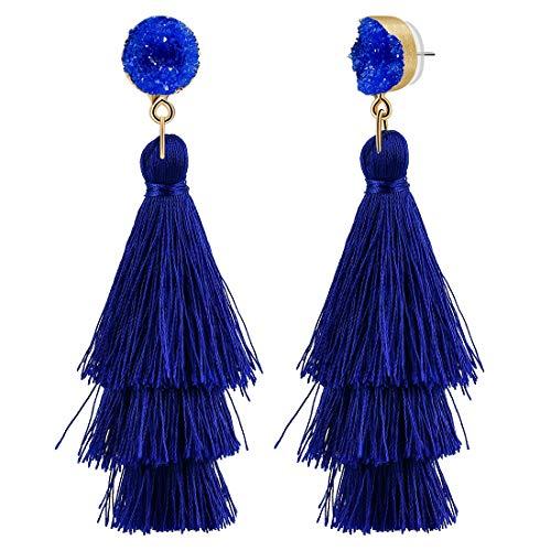 CAT EYE JEWELS Colorful Layered Tassel Earrings Bohemian Dangle Drop Tiered Tassel Druzy Stud Earrings for Women Royal Blue