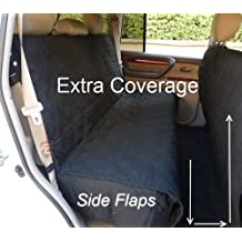 """Formosa Covers Deluxe Quilted and Padded Dog Car Back Seat Cover with Non-Slip Back Best for Car Truck and SUV - Travel With Your Pet Mess Free - Universal Fit 56""""x94"""", Black"""