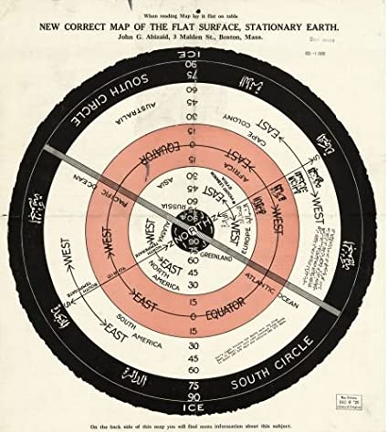 World Map Of Square Stationary Flat Earth 1893 Reproducion Giclee Print