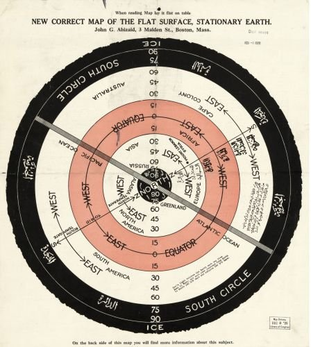 1920 Map New Correct map of The Flat Surface, Stationary Earth - Size: 22x24 - Ready to Frame - ()